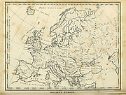 Map of Ancient Europe Copperplate engraving From the Encyclopaedia Londinensis or, Universal dictionary of arts, sciences, and literature; Volume VII;  Edited by Wilkes, John. Published in London in 1810