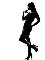 stylish silhouette caucasian beautiful woman pensive thinking full length on studio isolated white background