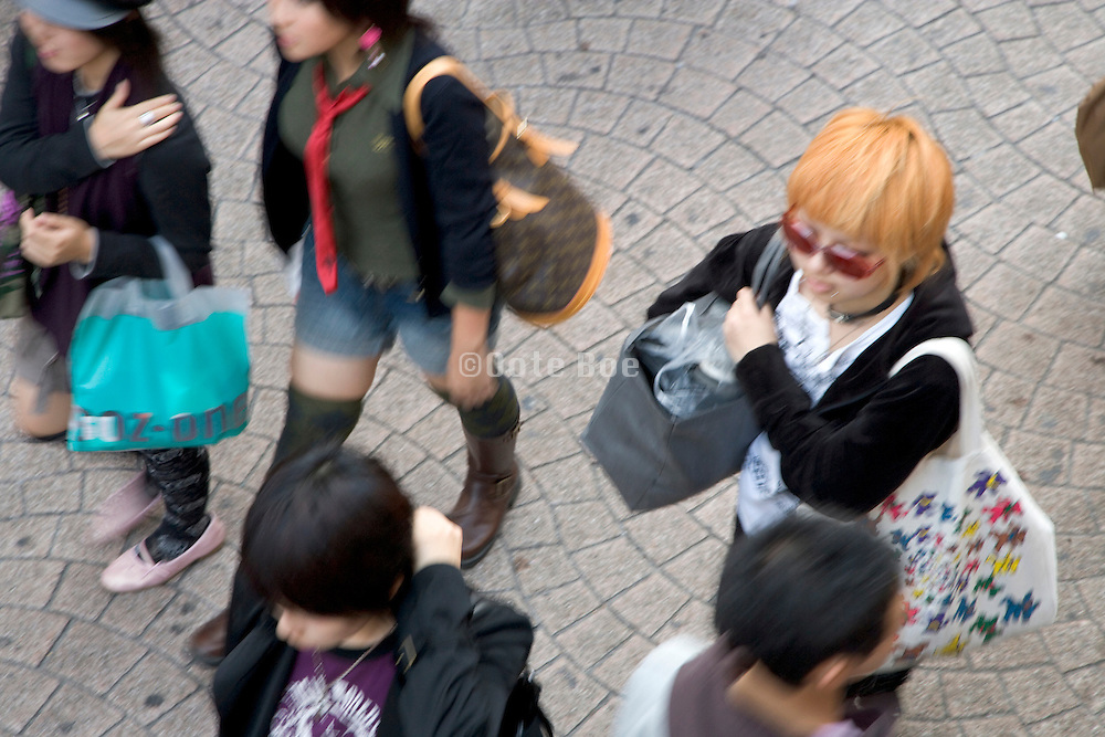 young girls shopping in the Harajuku district of Tokyo