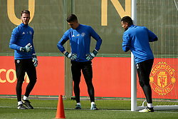 David De Gea, Joel Pereira and Sergio Romero of Manchester United - Mandatory by-line: Matt McNulty/JMP - 11/09/2017 - FOOTBALL - AON Training Complex - Manchester, England - Manchester United v FC Basel - Press Conference & Training - UEFA Champions League - Group A