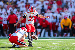Sep 4, 2021; College Park, Maryland, USA; Maryland Terrapins place kicker Joseph Petrino (27) kicks a field goal during the third quarter against the West Virginia Mountaineers at Capital One Field at Maryland Stadium. Mandatory Credit: Ben Queen-USA TODAY Sports