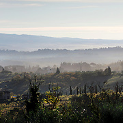 SAN GIMIGNANO, ITALY - OCTOBER 26: An early morning autumn scene near San Gimignano in Tuscany.  San Gimignano, Tuscany, Italy. 26th October 2017. Photo by Tim Clayton/Corbis via Getty Images)