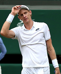 South African eighth seed Kevin Anderson celebrates having reached his first Wimbledon final, beating American ninth seed John Isner 7-6 (8/6) 6-7 (5/7) 6-7 (9/11) 6-4 26-24 in the longest semi-final in the tournament's history on day eleven of the Wimbledon Championships at the All England Lawn Tennis and Croquet Club, Wimbledon. PRESS ASSOCIATION Photo. Picture date: Friday July 13, 2018. See PA story TENNIS Wimbledon. Photo credit should read: Steven Paston/PA Wire. RESTRICTIONS: Editorial use only. No commercial use without prior written consent of the AELTC. Still image use only - no moving images to emulate broadcast. No superimposing or removal of sponsor/ad logos. Call +44 (0)1158 447447 for further information.