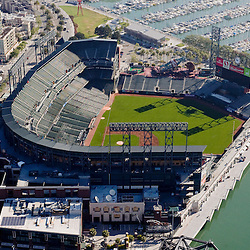 Aerial  view of the  AT&T Park, Home of the San Francisco Giants.  2010 National league champions, 24 Willie Mays Plaza, San Francisco, CA  as seen in May 2007