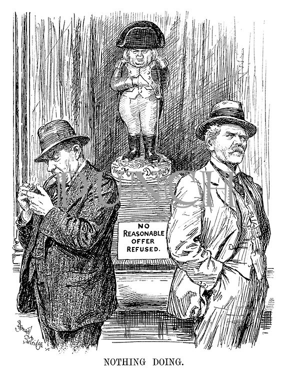 Nothing Doing. [Lloyd George stands in a shop window as a Napoleon with Man of Destiny, and a notice reads No Reasonable Offer Refused, as Ramsay MacDonald, hands firmly in pockets considers his options. Stanley Baldwin puffs on a pipe unconcerned]