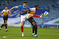 Football - 2020 / 2021 Sky Bet League One - Portsmouth vs. Crewe Alexandra - Fratton Park<br /> <br /> Omar Beckles of Crewe blocks Portsmouth's John Marquis from getting a vital touch goal wards during the League One fixture at Fratton Park <br /> <br /> COLORSPORT/SHAUN BOGGUST