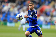 Stuart O'Keefe of Cardiff city in action. Skybet football league championship match, Cardiff city v Bolton Wanderers at the Cardiff city Stadium in Cardiff, South Wales on Saturday 23rd April 2016.<br /> pic by Andrew Orchard, Andrew Orchard sports photography.