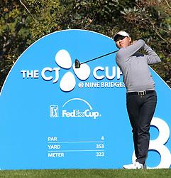 Oct 18, 2018-Jeju, South Korea-Si Woo Kim of South Korea action on the 8th tee during the PGA Golf CJ Cup Nine Bridges Round 1 at Nine Bridges Golf Club in Jeju, South Korea.
