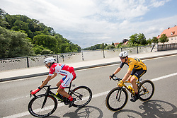 Janez Brajkovic of Adria Mobil Cycling Team and Matic Groselj of Ljubljana Gusto Xaurum on the bridge near Gornja Radgona during 1st Stage of 25th Tour de Slovenie 2018 cycling race between Lendava and Murska Sobota (159 km), on June 13, 2018 in  Slovenia. Photo by Vid Ponikvar / Sportida
