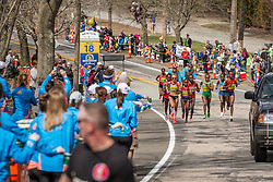2014 Boston Marathon: lead pack of elite women race passes mile 18 in the Newton Hills, Shalane Flanagan