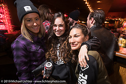 Dana Cooley with other Iron Lilies at the Mama Tried Show after-party spillover at the Palomino Bar. Milwaukee, WI. USA. Friday February 23, 2018. Photography ©2018 Michael Lichter.