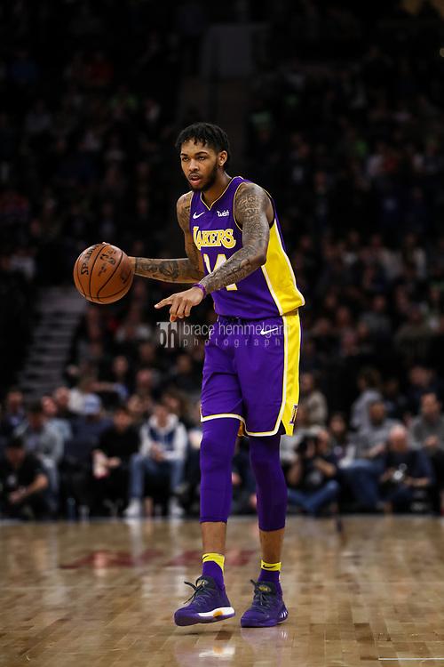 Feb 15, 2018; Minneapolis, MN, USA; Los Angeles Lakers forward Brandon Ingram (14) during a game between the Minnesota Timberwolves and Los Angeles Lakers at Target Center. Mandatory Credit: Brace Hemmelgarn-USA TODAY Sports