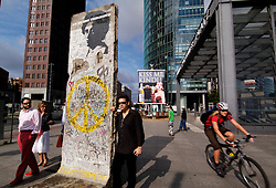 Original section of Berlin Wall standing in Potsdamer Platz in Berlin