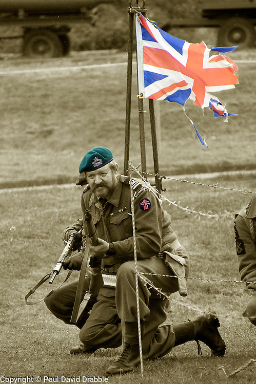 reenactors portray members of British Fox Commando Royal Navy during a battle reenactment at Fort Paull nr Hull on Monday.7  May 2012<br /> Image © Paul David Drabble