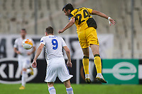 ATHENS, GREECE - OCTOBER 29: Stratos Svarnasof AEK Athens and Jamie Vardyof Leicester City during the UEFA Europa League Group G stage match between AEK Athens and Leicester City at Athens Olympic Stadium on October 29, 2020 in Athens, Greece. (Photo by MB Media)