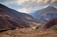 URUBAMBA PROVINCE, CUSCO,  PERU - CIRCA OCTOBER 2015:  View of the Urubamba Valley in the Cusco region known as Sacred Valley in Peru.