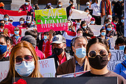 06 MARCH 2021 - DES MOINES, IOWA: A person holds up a Save Myanmar sign during a protest against the coup in Myanmar. About 300 members of the Burmese community in Iowa gathered at the State Capitol in Des Moines Saturday to protest against the military coup that deposed the popularly elected government of Aung San Suu Kyi and continuing military oppression in Myanmar. There are about 10,000 people in Iowa's Burmese community.        PHOTO BY JACK KURTZ