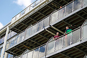 Spectators watch the game from their private balcony during the One Day International match between England and Ireland at the Brightside County Ground, Bristol, United Kingdom on 5 May 2017. Photo by Andrew Lewis.