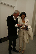 Michael White and Bianca Jagger, USA Today. Saatchi Gallery and The Royal academy of Arts. Piccadilly. London. 5 October 2006. -DO NOT ARCHIVE-© Copyright Photograph by Dafydd Jones 66 Stockwell Park Rd. London SW9 0DA Tel 020 7733 0108 www.dafjones.com
