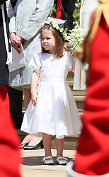 Princess Charlotte outside St George's Chapel in Windsor Castle after the wedding of Prince Harry and Meghan Markle.
