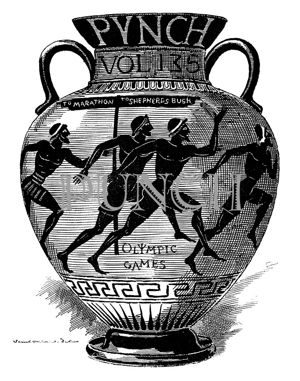 (Title page to Punch volume 135 showing an ancient Greek vase decorated with picture of early Olympic althletes running from Marathon to Shepherds Bush for the 1908 London Olympic Games)