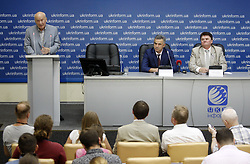 August 15, 2017 - Kiev, Ukraine - Former director-general of the State Space Agency of Ukraine, the Head of the National Institute for Strategic Studies and counsellor of Ukrainian President Volodymyr Gorbulin , Acting Head of the State Export Control Service of Ukraine Igor Savula and Head of the State Space Agency of Ukraine Yuri Radchenko (L-R) speak to journalists during a press coference in Kiev, Ukraine, 15 August, 2017. Ukraine's space agency said today that an engine type reportedly used in North Korean missiles was made at a Ukrainian factory, but solely for use in space rockets supplied to Russia.The press conference was held to discuss The New York Times article from 14 August on the alleged Ukrainian engines in the ballistic missiles of the Democratic People's Republic of Korea (DPRK) (Credit Image: © Str/NurPhoto via ZUMA Press)
