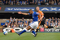Photo: Ashley Pickering.<br /> Ipswich Town v Wolverhamptopn Wanderers. Coca Cola Championship. 27/10/2007.<br /> Danny Haynes (blue) fires in the third for Ipswich