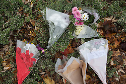© Licensed to London News Pictures. 10/11/2016. Croydon, UK. Floral tributes are placed near Sandilands tram station as investigations are continuing into a tram crash that police say claimed seven lives and injured 50. The driver has been arrested and is being questioned by police. Photo credit: Peter Macdiarmid/LNP