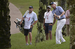 October 12, 2018 - Kuala Lumpur, Malaysia - Davis Love III (R) of the USA hits a shot during the second round of 2018 CIMB Classic golf tournament in Kuala Lumpur, Malaysia on October 12, 2018. (Credit Image: © Zahim Mohd/NurPhoto via ZUMA Press)