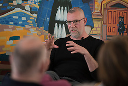 """A day of books in Portobello as part of the three-day long Portobello Book Festival. A series of packed events to hear a number of authors, some local, others from further afield talk about their writing. Pictured: Graeme Macrae Burnet talks about """"His Bloody Project"""". nominated for the 2016 Man Booker Prize. <br /> <br /> <br /> © Jon Davey/ EEm"""
