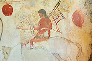 Lucanian fresco tomb painting of a warrior on a horse. Paestrum, Andriuolo. 3rd Century  BC .<br /> <br /> If you prefer to buy from our ALAMY PHOTO LIBRARY  Collection visit : https://www.alamy.com/portfolio/paul-williams-funkystock - Scroll down and type - Paestum Fresco - into LOWER search box. {TIP - Refine search by adding a background colour as well}.<br /> <br /> Visit our ANCIENT GREEKS PHOTO COLLECTIONS for more photos to download or buy as wall art prints https://funkystock.photoshelter.com/gallery-collection/Ancient-Greeks-Art-Artefacts-Antiquities-Historic-Sites/C00004CnMmq_Xllw