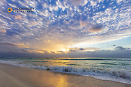 Sunrise over the Carribean from the beaches in Playa del Carmen, Mexico