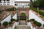 The Alhambra Palace and fortress complex located in Granada, Andalucia, Spain. Court of the Sultans in the gardens section of Generalife area. This area was built for the Granadian monarchs to escape their official routine.