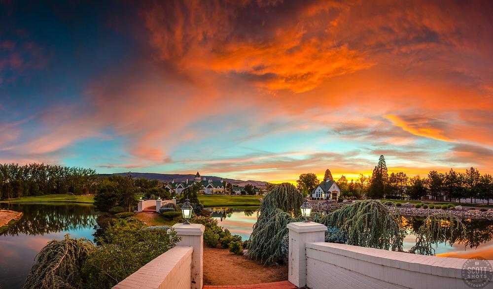 """Rancharrah Sunset 3"" - Photograph of a walking bridge and the Rancharrah Mansion in Reno, Nevada, shot during an incredible sunset."