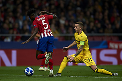 November 6, 2018 - Madrid, Spain - Thomas of Atletico Madrid and Marco Reus of Borussia Dortmund during the Group A match of the UEFA Champions League between AtleticoLucien Favre of Borussia Dortmund Madrid and Borussia Dortmund at Wanda Metropolitano Stadium, Madrid on November 07 of 2018. (Credit Image: © Jose Breton/NurPhoto via ZUMA Press)