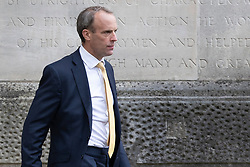 © Licensed to London News Pictures. 01/09/2021. London, UK. Foreign Secretary Dominic Raab departs the Foreign, Commonwealth and Development Office. Later today he will appear in front of Foreign Affairs Select Committee. Photo credit: George Cracknell Wright/LNP