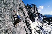 Kevin Jorgeson climbing Fantasia 5.9R at Lovers Leap, Eldorado National Forest near Lake Tahoe, California.