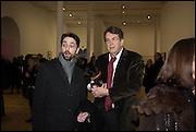 ALEX AND ADRIAN MIBUS at the Private view for A Strong Sweet Smell of Incense<br /> A Portrait of Robert Fraser, Curated by Brian Clarke. Pace Gallery. 6 Burlington Gardens. London. 5 February 2015.