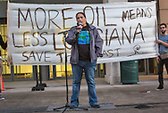 Gulf Coast activist, Cherri Foytlin speaks at a rally before the Bayou Bridge Pipeline permit hearing.