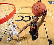 Jan. 27, 2011; Charlottesville, VA, USA; Maryland Terrapins guard Adrian Bowie (1) shoots over Virginia Cavaliers guard Jontel Evans (1) during the game at the John Paul Jones Arena. Maryland won 66-42. Mandatory Credit: Andrew Shurtleff