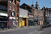 Birmingham city centre eerily quiet and deserted under lockdown with closed down businesses due to Coronavirus on 24th April 2020 in Birmingham, England, United Kingdom. Coronavirus or Covid-19 is a new respiratory illness that has not previously been seen in humans. While much or Europe has been placed into lockdown, the UK government has extended stringent rules as part of their long term strategy, and in particular social distancing, which has left usually bustling areas like a ghost town.