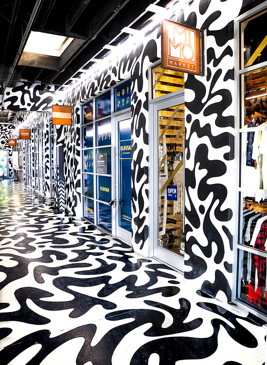 The new Wynwood Shops is a stylish boutique and restaurant mini-mall that looks like an art installation. It exemplifies the gentrification of Miami's formerly run-down Wynwood district.