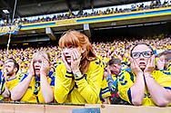 Chokerede fans under kampen, da brøndby kommer bagud 0-1 mandag. d. 21. maj 2018. Superliga Brøndby-Aab.<br /> (Foto: Bax Lindhardt/ Scanpix 2018)