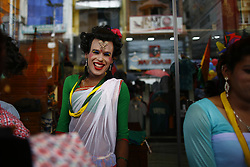 August 8, 2017 - Kathmandu, Nepal - A reveler reacts during celebrations of their pride parade of LGBT community (lesbian, gay, bisexual and transgender) organized by Blue Diamond Society in Kathmandu. Hundreds gathered and attended the parade to display their presence on behalf of equality in the society. (Credit Image: © Skanda Gautam via ZUMA Wire)