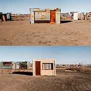 Shacks are small improvised huts which are usually built on the outskirts of rural areas (townships) in South Africa. The residents are mostly immigrants who moved to the cities looking for work. They settle in squatter settlements, sometimes illegal or unauthorized. Squatter settlements are mostly found in developing nations like here in South Africa. The improvised shacks are built using scrap materials: Often plywood, and corrugated metal sheets or plastic. <br /> The residents do not have proper sanitation, electricity or telephone services. The percentage of crime, drugs and disease is more than in other cities, but hope and faith is definitely there and you see the residents has the initiatives for improvements. What I experienced was that the residents are trying to make a home despite their limited resources. Therefore, it is an architecture form that is raised out of necessity.<br /> <br /> I made these images at the informal settlement at the outskirts of refengkgotso township in the province Free State, South Africa.