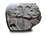 Picture & image of a Neo-Hittite orthostat with a releif sculpture of Bull Men from The legend of Gilgamesh , Karkamis, Turkey. Ancora Archaeological Museum.