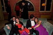 ALBERTO ALMAGNE; FRANCESCA CERUTTI; ANDREA BALLARINI; EUGENIA PIRRO. Francesca Bortolotto Possati, Alessandro and Olimpia host Carnevale 2009. Venetian Red Passion. Palazzo Mocenigo. Venice. February 14 2009.  *** Local Caption *** -DO NOT ARCHIVE -Copyright Photograph by Dafydd Jones. 248 Clapham Rd. London SW9 0PZ. Tel 0207 820 0771. www.dafjones.com<br /> ALBERTO ALMAGNE; FRANCESCA CERUTTI; ANDREA BALLARINI; EUGENIA PIRRO. Francesca Bortolotto Possati, Alessandro and Olimpia host Carnevale 2009. Venetian Red Passion. Palazzo Mocenigo. Venice. February 14 2009.