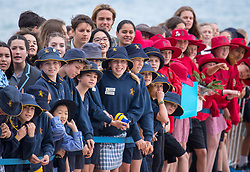 Crowds wait to see the Duke and Duchess of Sussex on South Melbourne Beach during their visit to Melbourne, on the third day of the royal couple's visit to Australia.
