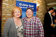 """19/7/2011. Moyra McMahon Ulster Bank, with  Propeller Wayne Cater in McSwiggans for the pre show reception of Propeller's """"Comedy of Errors"""" by Shakspeare in the Galway Arts Festival, sponsored by Ulster Bank. Photo:Andrew Downes"""