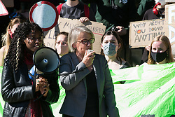 London, UK. 24th September, 2021. Natalie Bennett, Baroness Bennett of Manor Castle, addresses hundreds of young people taking part in a Global Climate Strike to demand intersectional climate justice. The Global Climate Strike was organised to highlight the detrimental influences through colonialism, imperialism and exploitation of the Global North on MAPA (Most Affected Peoples and Areas), which have contributed to them now experiencing the worst impacts of the climate crisis, and to call on the Global North to pay reparations to MAPA.